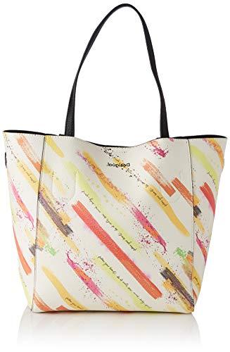 Desigual PU Shopping Bag, Borsa shoppering Donna, Giallo, U