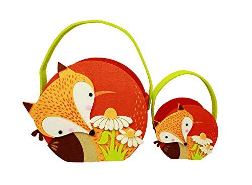 HAAC - Juego de 2 cestas de Fieltro Decorativas para Pascua, con asa y Flores, 23 cm x 21 cm x 12 cm y 14 cm x 9 cm x 5,5 cm
