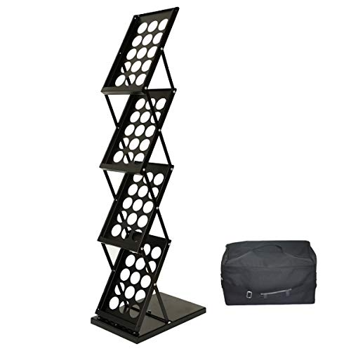 A4 Prospektständer Infoständer faltbar Katalogständer aus Metall schwarz inkl. Tragtasche