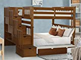 Bedz King Tall Stairway Bunk Beds Twin over Twin with 4 Drawers in the Steps and a Twin Trundle, Espresso