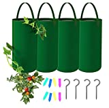 Vegetable Planter Topsy Turvy Hanging Planter, Heavy Duty Fabric Pots with Handle, 4 Gallon Grow Bags with Zipper Indoor Wall Outdoor Garden(4-Pack)