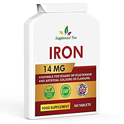 Iron 14mg - 365 Vegan Tablets (One Year Supply) - Contributes to The Reduction of Tiredness and Fatigue – Suitable for Men and Women - GMO Free - UK Manufactured