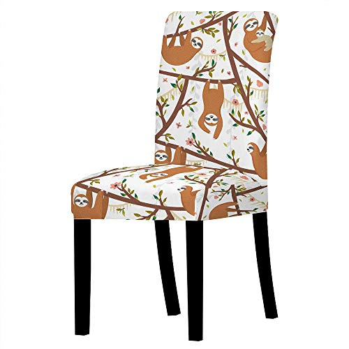 QGWMCD Fundas para sillas Juego de 6 Piezas Perezoso Animal Blanco marrón Flor Rosa,Extraíbles y Lavables Fundas de Silla de Comedor para Duradera Modern Hotel, Boda, Decor Sala de Estar Cocina