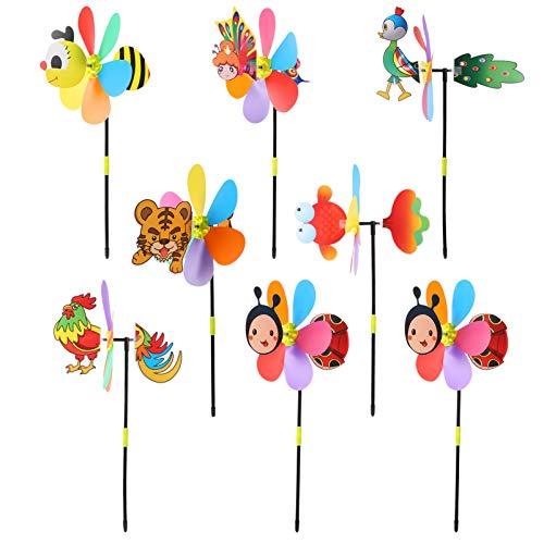 TOYANDONA 8Pcs Garten Decor Windräder 3D Tiere Whirligig Wind Spinner Windmühle Spielzeug für Kinder Kinder Garten Terrasse Rasen Hof Dekoration (Random Style)