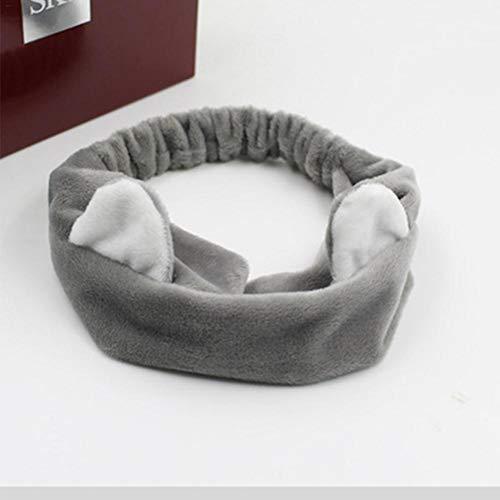 Rainnao Haarband voor kattenoren. Haarband, gezichtswasgoed, haarband, hoofdtooi grijs