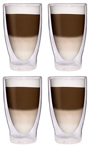 4X 370ml XXL doppelwandige Cocktailgläser/Longdrinkgläser/Eistee-Gläser/Saft- und Wassergläser - 4X 370ml edle extra große Thermogläser mit Schwebeeffekt von Feelino …