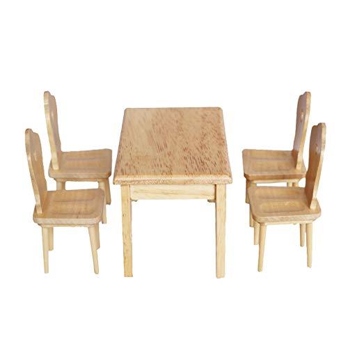 Accesorios para muebles de casa de muñecas, 5 unidades/set 1/12 silla de madera mesa para el hogar, cocina, comedor, mini decoración de juguete