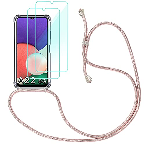 Yohii Funda con Cuerda para Samsung Galaxy A22 5G + [2 Pack] Cristal Templado Protector de Pantalla, Carcasa Transparente TPU Suave Silicon Colgante Ajustable Collar - Oro Rosa
