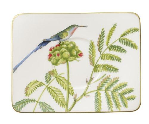 Villeroy & Boch Amazonia rechteckige Kaffee-Untertasse, Edles Geschirr aus Premium Bone Porzellan, 17 x 14 cm