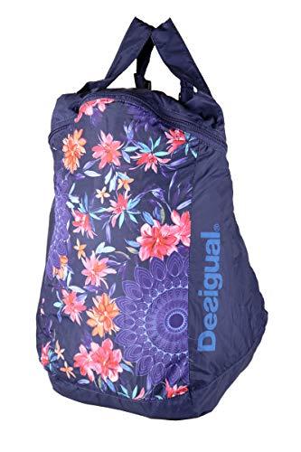Desigual 18SAXFX0/5000 Bols_Flower Bag Ball - Mochila plegable (tamaño aprox.) : 40 x 26 x 15 cm (L x B x T), flores, azul rosa, multicolor, equipaje de mano.