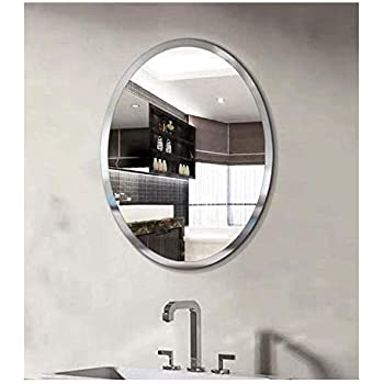 SEVEN HORSES Frameless Oval Bevelled Glass Wall Mirror (White , 14X 20 inches)