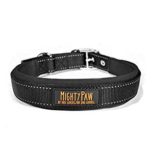 Mighty Paw Sport Collar 2.0 | Soft Neoprene Padded Dog Collar Made with High Visibility Reflective Threading and Premium Weatherproof Nylon. Fits Small and Large Pets