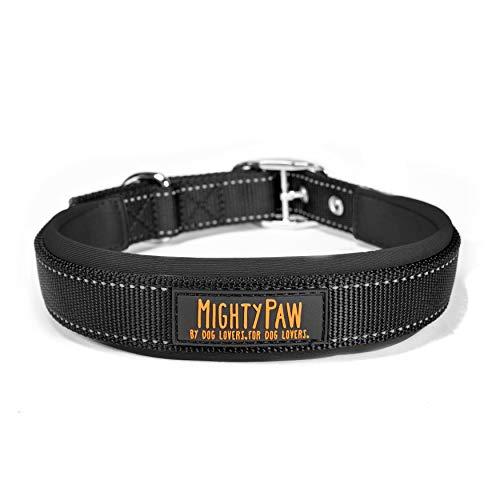 Mighty Paw Sport Collar 2.0 | Weiches Neopren-gepolstertes Hundehalsband mit hoher Sichtbarkeit, reflektierendem Einfädeln und hochwertigem wetterfestem Nylon für kleine und große Haustiere (schwarz)