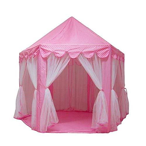 Pink Princess Castle Kids Play Tent Childern Play House 1.4m Diameter for Indoor Outdoor Play