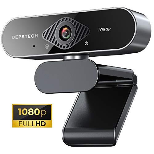 DEPSTECH Webcam mit Mikrofon, HD Webcam 1080p, 78° Sichtfeld, Klarer Stereo Sound, USB 2.0 Plug & Play, Kompatibel mit Windows, Mac und Android, Für Skype, FaceTime, Hangouts, Zoom etc,