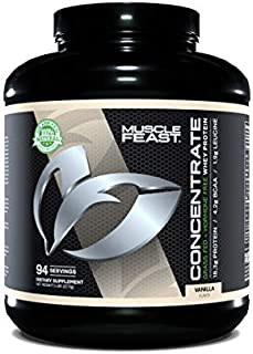 Grass Fed Whey Protein Concentrate by Muscle Feast | Hormone Free and Kosher Certified (5 lbs., Vanilla)