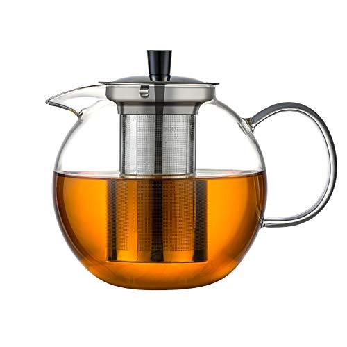 Ehugos Teekanne 1500mL Dickes Glas Teebereiter mit Edelstahl-Sieb Glaskanne