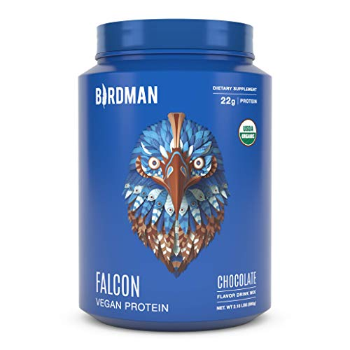 Birdman Falcon Protein Premium Vegan Protein Powder, Plant Based Protein Powder, Certified Organic, Kosher, Non Dairy, Gluten Free, Keto-Friendly, Gluten Free, Chocolate Flavor, 33 Servings 2.18lb