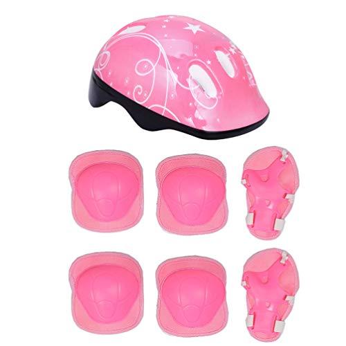 VORCOOL Kinder Schutzausrüstung Fahrradhelm mit Ellenbogen Handgelenk Knieschützer Kinder Fahrrad Zubehör (Pink)