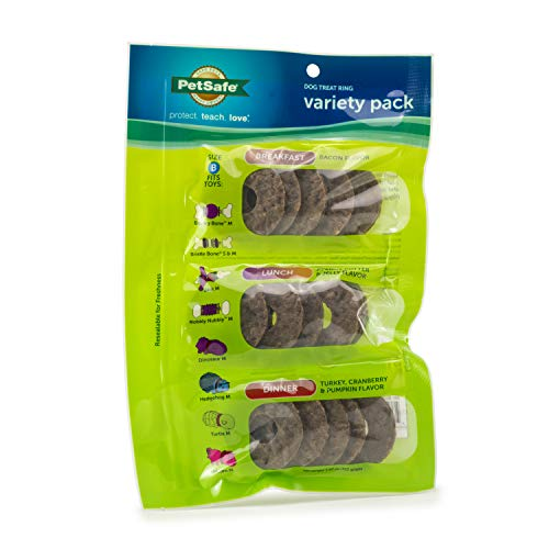 PetSafe Dog Treat Ring Variety Pack – 15 Treat Ring Refills for Busy Buddy Toys – Medium
