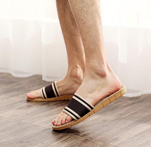 ypyrhh Sandalias de Punta Descubierta,Zapatillas de subaranda Interior, Zapatos de Pareja Antideslizante Gruesos-Marrón Horizontal_35-36,Zapatillas de Estar por Casa de Mujer/Hombre