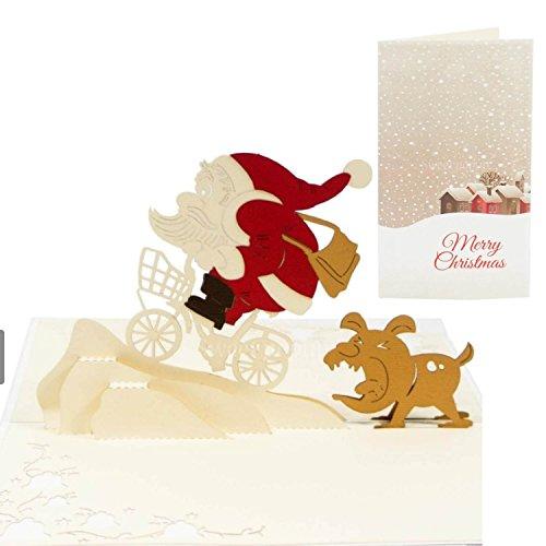 Besondere Weihnachtskarte ausgefallene Karte zu Weihnachten Weihnachtsgutschein - Weihnachtsmann & Hund