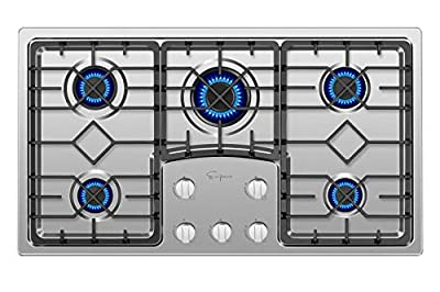 "Empava 36"" Gas Stove Cooktop with 5 Italy Sabaf Sealed Burners NG/LPG Convertible in Stainless Steel, 36 Inch"