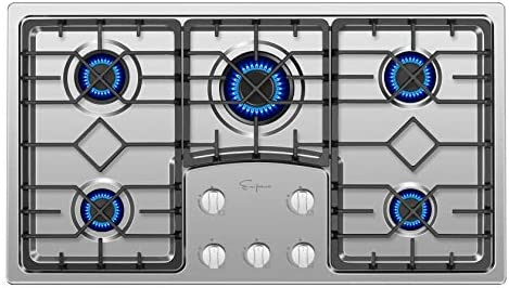 Empava 36 Gas Stove Cooktop with 5 Italy Sabaf Sealed Burners NG LPG Convertible in Stainless product image