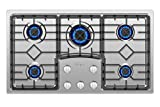 Empava 36' Gas Stove Cooktop with 5 Italy Sabaf Sealed Burners NG/LPG Convertible in Stainless Steel, 36 Inch