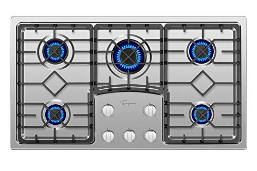Empava 36' Gas Stove Cooktop with 5 Italy Sabaf Sealed Burners...
