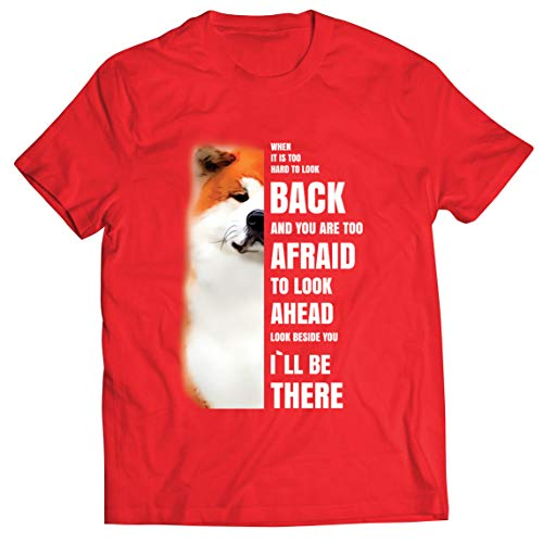 lepni.me Camisetas Hombre Will be There for You Motivational Akita Inu Dog Lover Gift (M Rojo Multicolor)