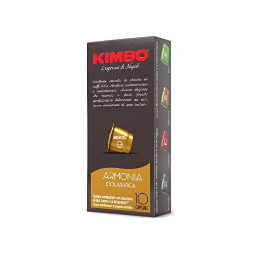 Kimbo Capsule di Caffè Armonia 100% Arabica, Compatibile con Nespresso, 10 Pacchi da 10 Capsule (Totale 100 Capsule)
