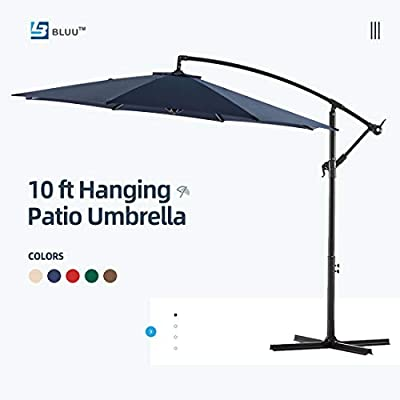 WUFF Bluu 10ft Patio Offset Umbrella Cantilever Umbrella Hanging Market Umbrella Outdoor Umbrellas with Crank & Cross Base(Navy Blue)