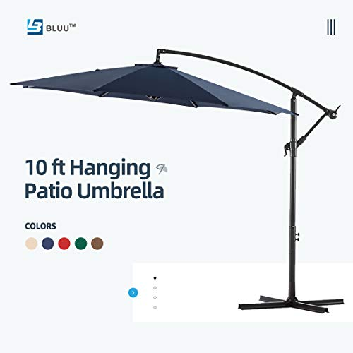 Bluu 10ft Patio Offset Umbrella Cantilever Umbrella Hanging Market Umbrella Outdoor Umbrellas with Crank & Cross Base(Navy Blue)