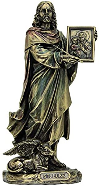 St Luke Statue Lightly Hand Painted Cold Cast Bronze 8 Patron Saint Physician Surgeons
