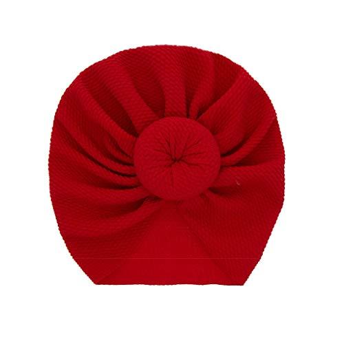 LABIUO 12 Couleurs Style Indien Noeuds Bonnet Bébé, Mode Chapeau Bandeau Turban Noeud Mou Tête Wraps pour Bébé Filles Bonnet Nouveau-Né Tout-Petits pour 0-2 Ans(Rouge,Taille Unique)