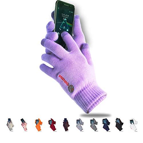 AXELENS Guantes Táctiles Invernales Calientes Cómodos Térmicos Resistentes al Frío, Interior de Felpa para Smartphones Teléfonos Móviles Tablets - Confección Regalo Incluida - Mujer Niña Chica - Lila