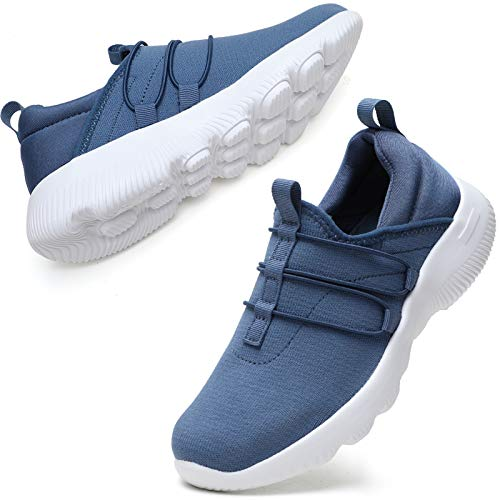 STQ Sneakers for Women Lightweight Comfort Casual Slip On Fitness Road Running Shoes for Gym Outdoor Travel. Light Blue US 7.5