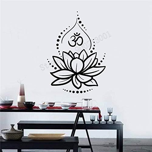 80X117Cm Etiqueta De La Pared Del Arte Flor De Loto Decoración De La Pared Ornamento Extraíble Cartel Del Yoga Hinduismo Hindú Om Símbolo Mural