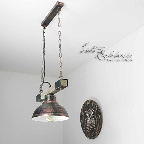 Elegante lámpara colgante en cobre colores madera envejecida vintage 1x E27 hasta 60 vatios 230V metal y madera cocina comedor lámpara colgante lámpara lámpara colgante iluminación
