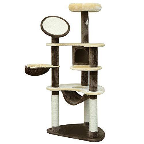 HOMCOM PawHut Rascador para Gatos 153x65x50 cm Arbol para Arañar Poste Centro De Actividades Gato Color Marron