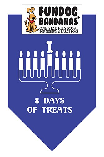 Chanukah 8 Days of Treats Dog Bandana (One Size Fits Most 22x22x31)