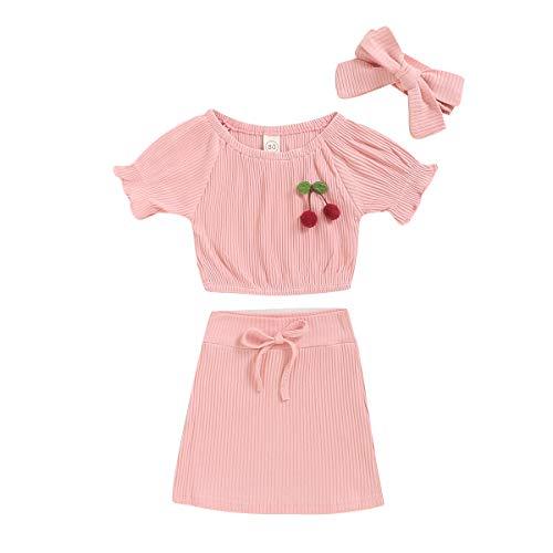 Infant Toddler Baby Girl Summer Pink Princess Skirt Sets Cherry Short Sleeve T-Shirt Little Lady 3pcs Girls Summer Outfit (Pink, 6-12 Months)