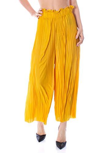 Pantalones anchos amarillos para mujer con tablillado