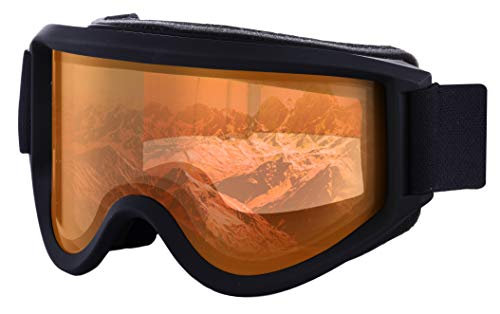 Ski & Snowboard Goggles - OTG Snow Glasses for Skiing, Snowboarding & Outdoor Winter Sports - Snowmobile Gear with Anti-Fog Dual-Layer Cylindrical Lens & UV400 Protection - Fits Men, Women & Youth