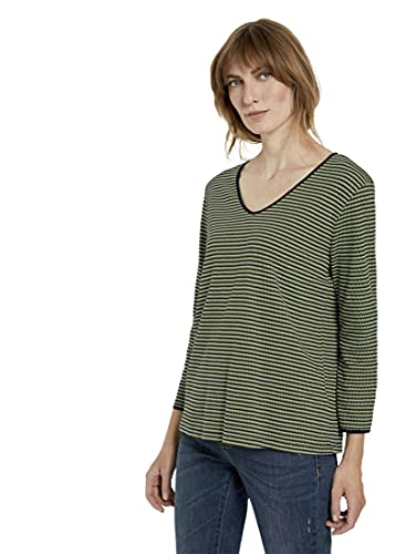 Tom Tailor Streifen-Struktur Camiseta, Green Navy 25211-Palomitas (Tamaño Pequeño), XXL para Mujer