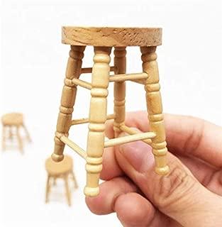 EatingBiting(R) Handcraft 1:12 Dollhouse Miniature Wooden Stool Chair Dollhouse Furniture Box Handmade Dollhouse Pub Bar Four-Stool Chair , Designed for Doll House Scene Kitchen Home Loving Room