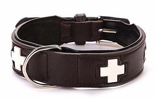 Luminous Hundehalsband Swiss Style, PU Leder, Braun, Länge 60 cm, längenverstellbar