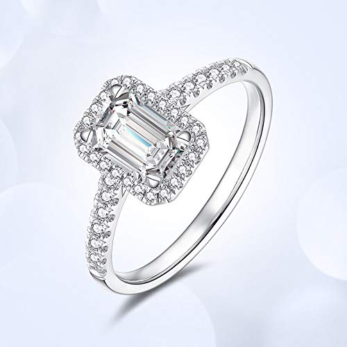 Kuyiuif Cushion 4ct CZ Engagement Rings for Women Cubic Zirconia Promise Halo Engagement Ring 925 Sterling Silver Solitaire Engagement Ring (9)