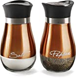 bronze sugar dispenser - Circleware Cafe Contempo Elegant Glass Salt and Pepper Shakers Dispenser, Clear Bottom Jar Bottle Container with Stainless Steel Top, Perfect for Himalayan Seasoning Herbs Spices, 4.4 oz, Copper